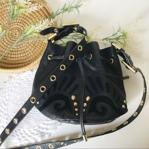 JUICY COUTURE Studded Leather Crossbody Bucket Bag